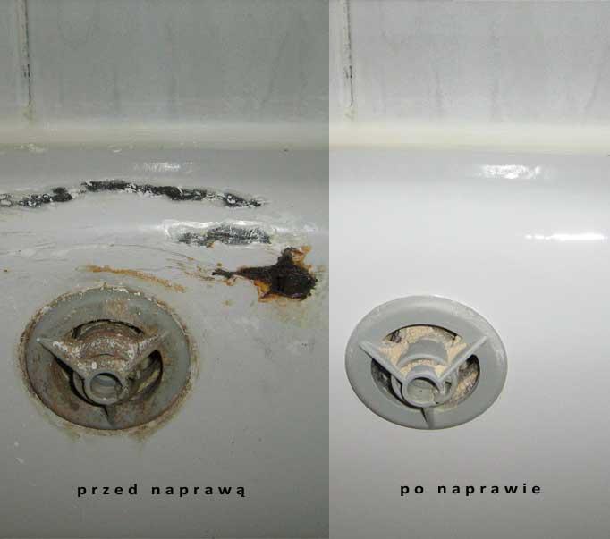 Odprysk na wannie przed i po renowacji.