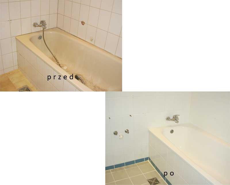 Łazienka w stanie sprzed oraz po renowacji.