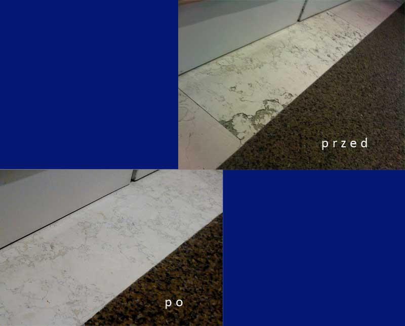 Naprawa marmuru, przed i po.