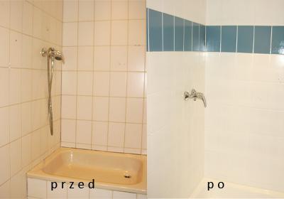 Renowacja łazienki, przed i po zabiegu.