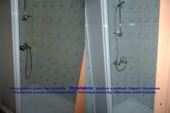 Renowacja kabiny prysznicowej, przed oraz po zabiegu.