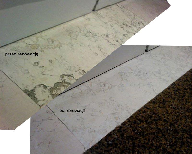 Obraz przedstawia porównanie marmuru na etapie przed renowacją oraz po renowacji.