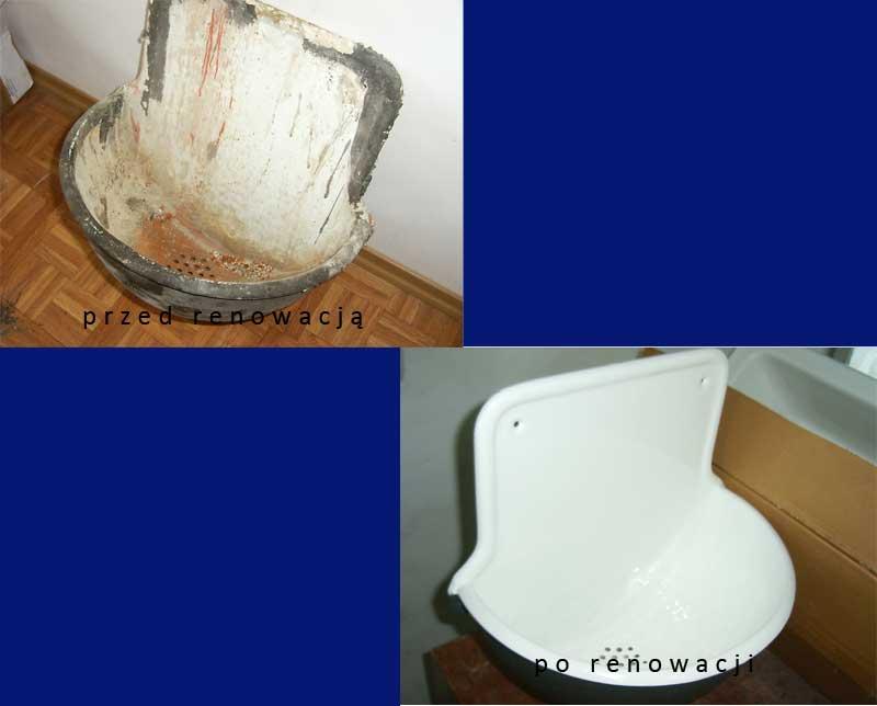 Renowacja umywalki zabytkowej przed oraz po.